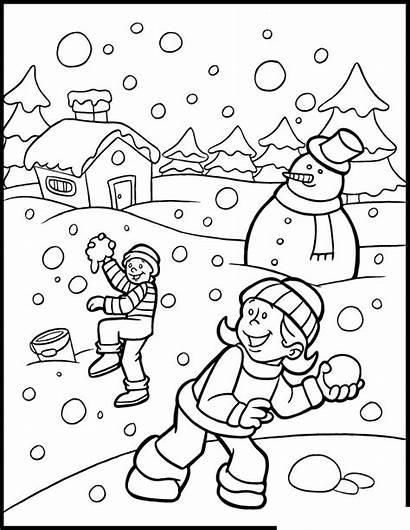 Winter Coloring Pages Season Printable Preschool Kindergarten