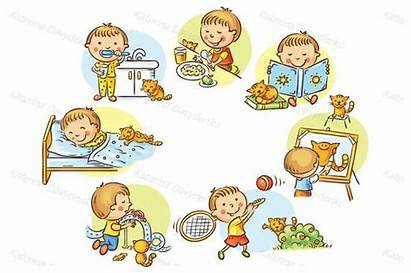 Activities Daily Boy Clipart Children Routine Daytime