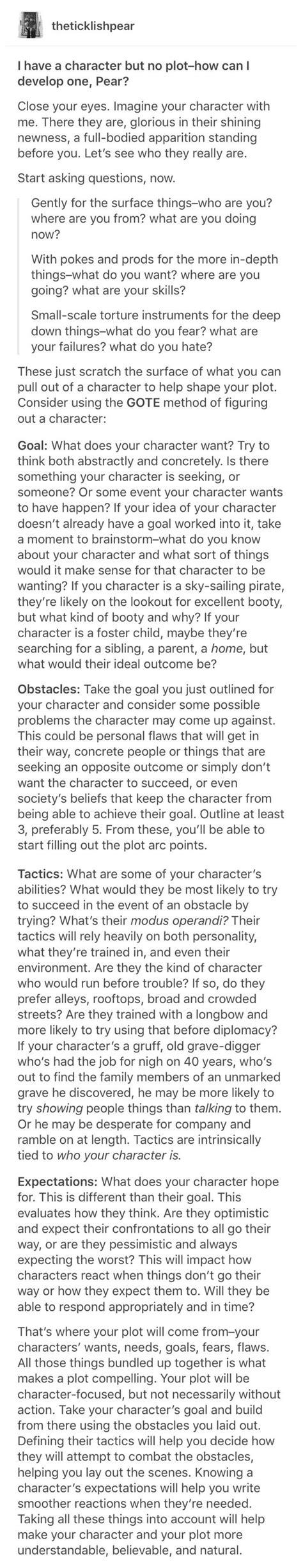gote method  character design writing tips writing