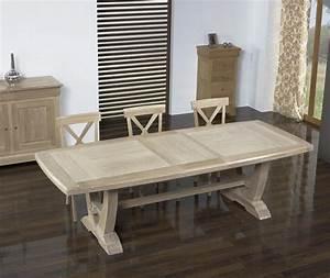 Table Chene Blanchi : table rectangulaire monast re realis e en ch ne 220 110 2 allonges de 45 cm finition bross ~ Teatrodelosmanantiales.com Idées de Décoration