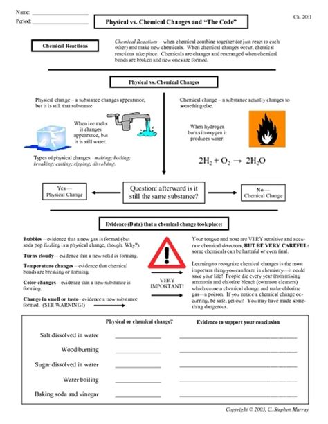 chemical change and physical change worksheet images