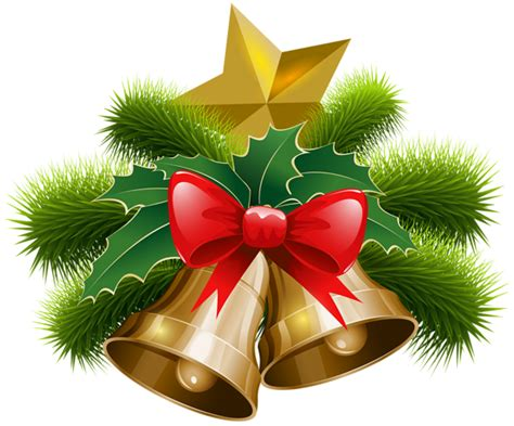 Christmas Bells And Bow Png Clip Art Image