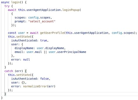 login react integration microsoft method popup