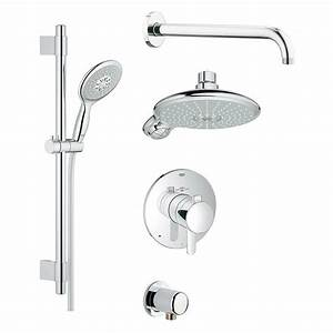 Bathroom: Grohe Wall Mounted Chrome Shower System Set With