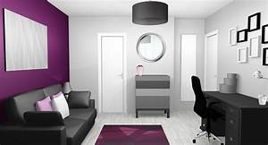 awesome couleur chambre gris et mauve contemporary With decoration interieur noir blanc gris