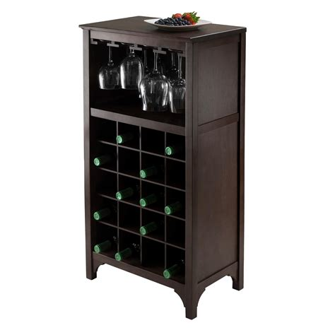 Amazon Com Winsome Ancona Wine Cabinet With Glass Rack