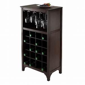 Amazon com: Winsome Ancona Wine Cabinet with Glass Rack