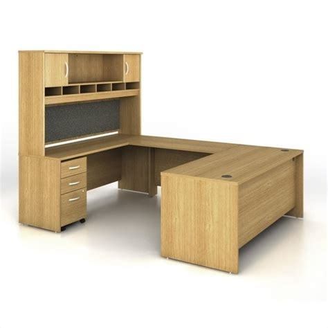 light oak computer desk bush bbf series c 5 piece u shape computer desk in light