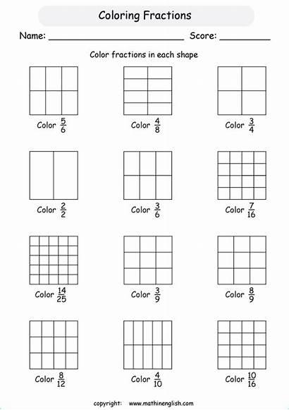 Fractions Fraction Worksheets Worksheet Coloring Printable Primary