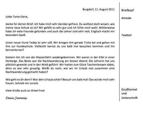 einen persoenlichen  schreiben deutsch klasse