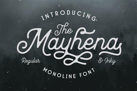 Mayhena Monoline Script Font - Dafont Free
