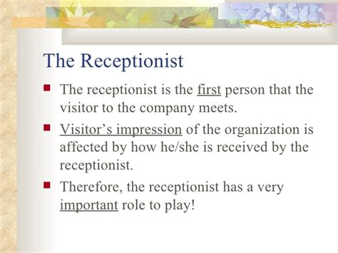 front desk security responsibilities chap 3 the receptionist