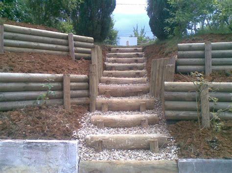 escalier en rondin de bois r 233 alisations paysagiste besan 231 on vesoul gray doubs haute sa 244 ne