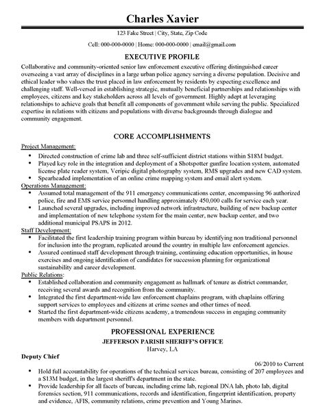 Assistant Chief Resume by Chief Cover Letter