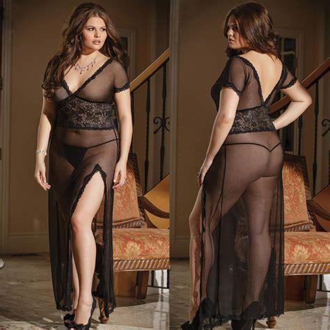 robe de chambre pour homme grande taille plus size white black mesh sheer dressing