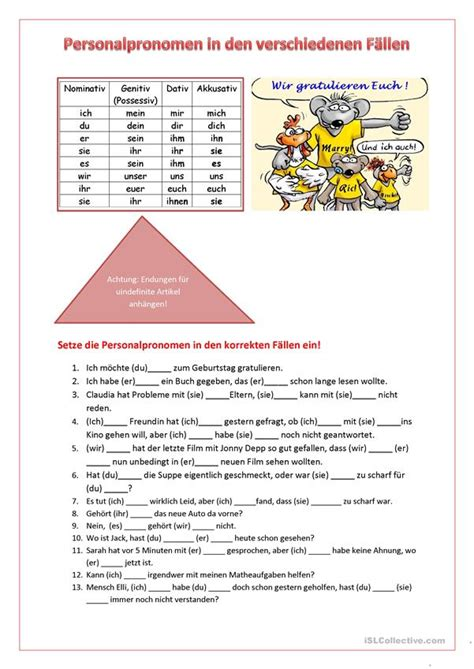 personalpronomen  den verschiedenen faellen deutsch daf