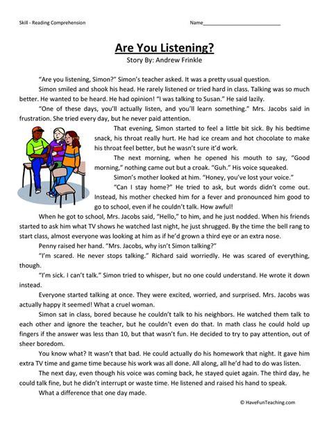 listening reading comprehension worksheet