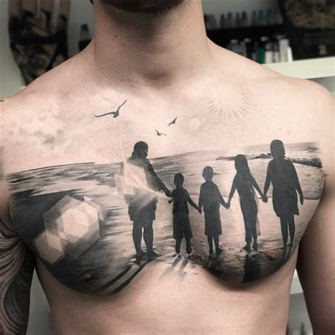 family   beach mens chest piece  tattoo design