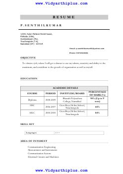 diploma resume format and sle