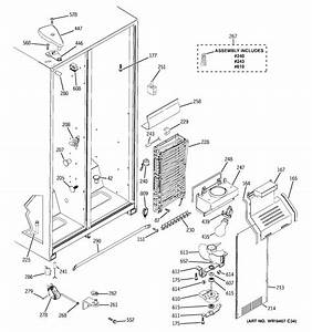 Freezer Section Diagram  U0026 Parts List For Model Hss25gfphww
