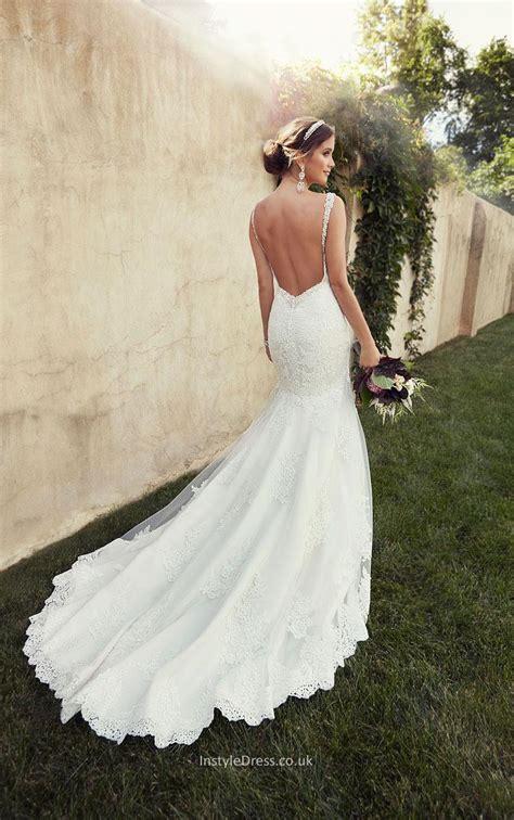 Spaghetti Straps Backless Lace Mermaid Long Tail Wedding