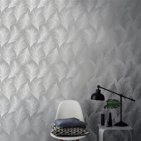 holden metallic feather pattern wallpaper leaf motif