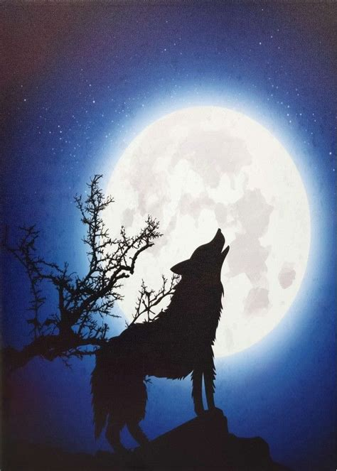moonlight wolf light  led canvas wall hanging