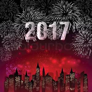 Happy New Year 2017 with fireworks background | Stock ...