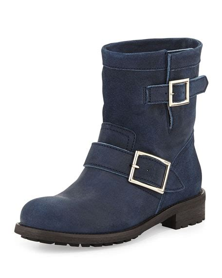 short biker boots jimmy choo youth short suede biker boot blue gray