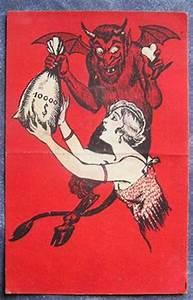 Stara pocztówka z diabłem vintage krampus postcard devil