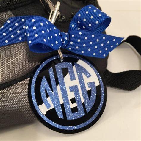 cheer monogram bag tag  black acrylic personalized accessories cheerleading decor