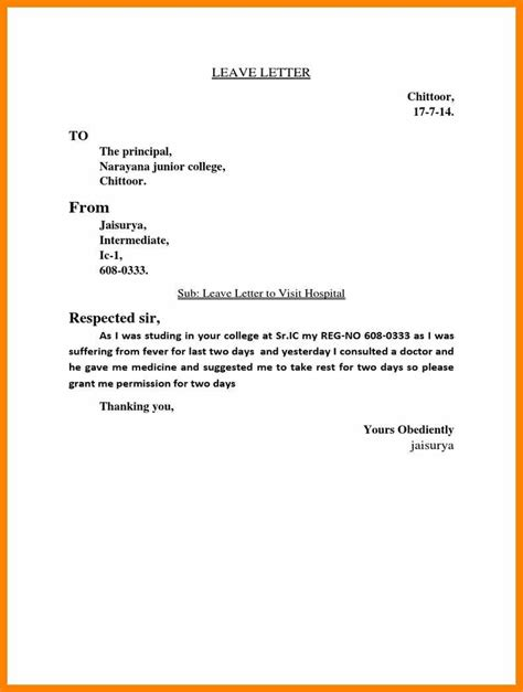 explanation letter  leave  college weekly template