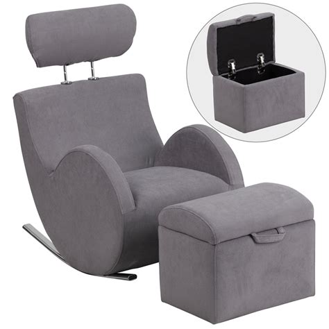 fabric chair with ottoman hercules series gray fabric rocking chair with storage ottoman