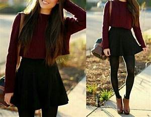 Sweater outfit tumblr fall outfits jumper bag shoes skirt dark colours - Wheretoget