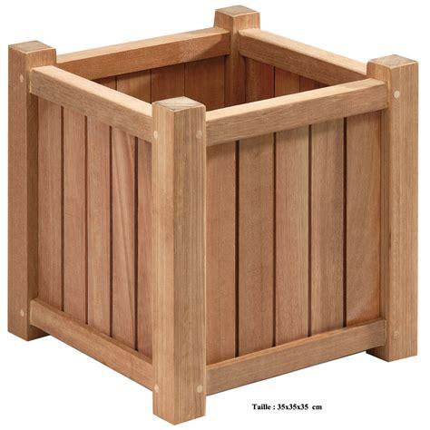 la jardini 232 re en bois exotique carr 233 e de 35 cm le bac 224 plantes de balcon poteries et bacs 224