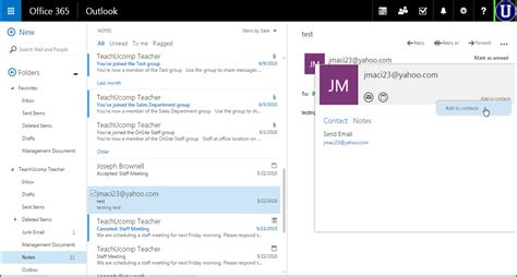 Office 365 Mail Website by Create A Contact From Email In Outlook Web App Tutorial