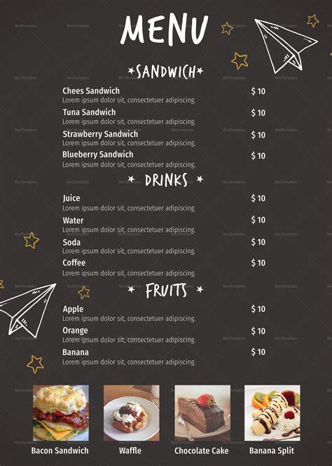 school canteen menu design template  psd word