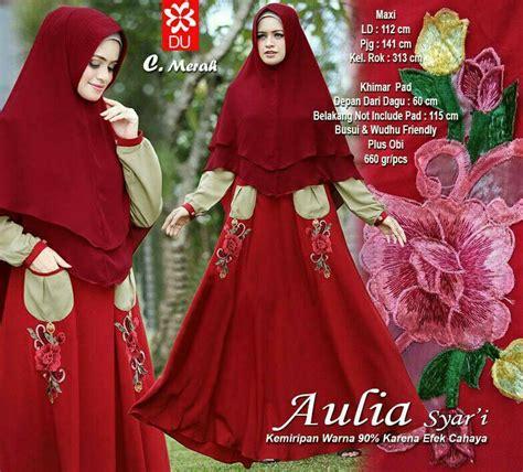 Harga Gamis Merk Aulia baju gamis syari jumbo wolfis terbaru aulia merah