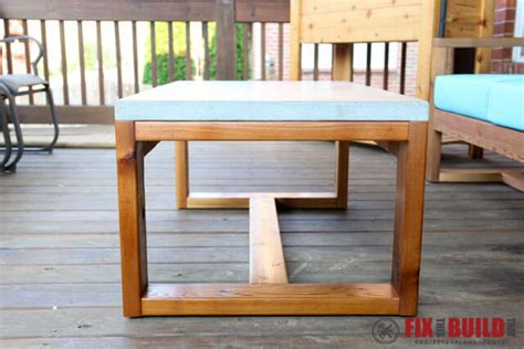 concrete coffee table diy diy concrete top outdoor coffee table fixthisbuildthat