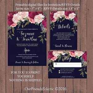 navy burgundy wedding invitation printable wedding With wedding invitation suite meaning