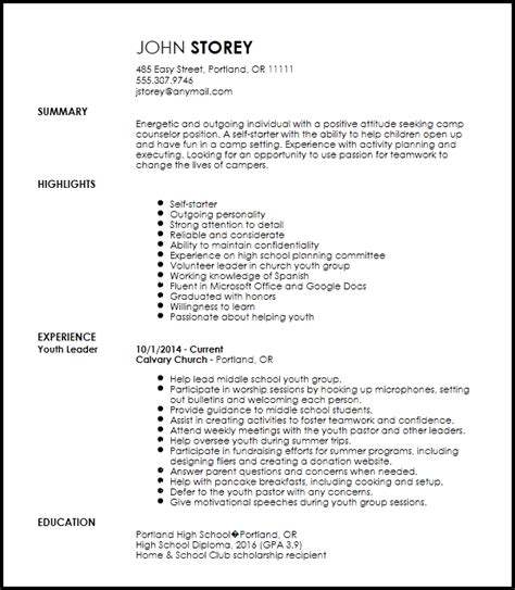 Resume For C Counselor At Ymca by Free Entry Level C Counselor Resume Template Resumenow