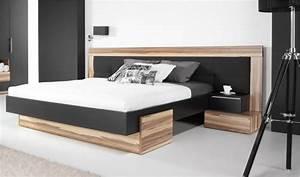 Lit Bois Design Noir Adulte 2 Places Tte De Lit Large