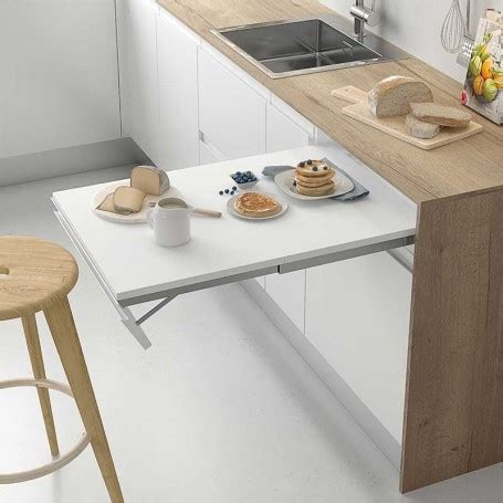 extraible integrado de frente abatible  mesa de cocina
