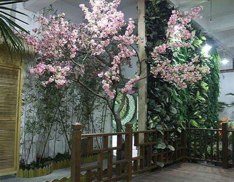 indoor artificial cherry blossom flowering fake trees