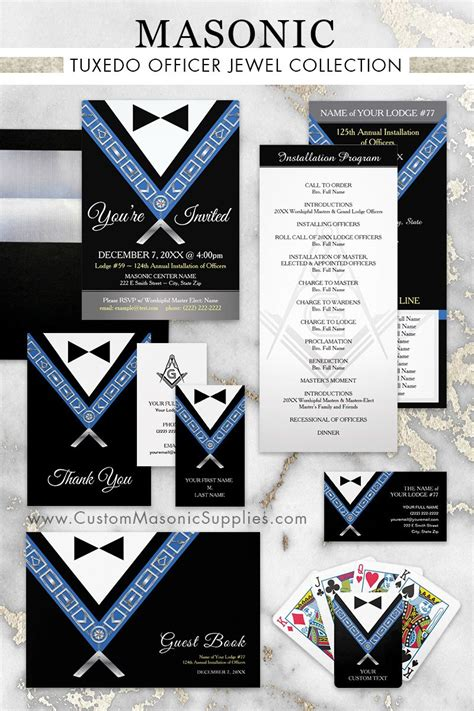 Masonic Officer Jewels Tuxedo Collection: personalized