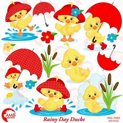 Duck Clipart Umbrella Rainy Spring April Showers