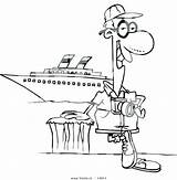 Coloring Cartoon Cruise Ship Tourist Waves Boat Outline Pages Leishman Posing Male Vector Clipart Getcolorings sketch template