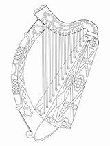 Harp Irish Coloring Pages Printable Ireland Harps Celtic Colouring Instruments Adult Supercoloring Patrick Crafts Bible St Craft Arms Coat Category sketch template