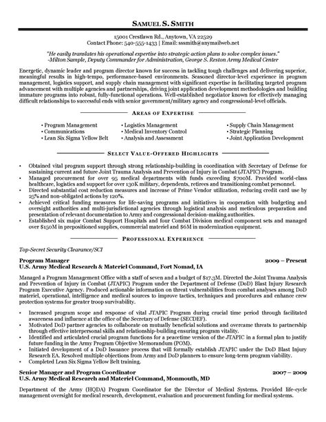 to federal resume exles exles of resumes