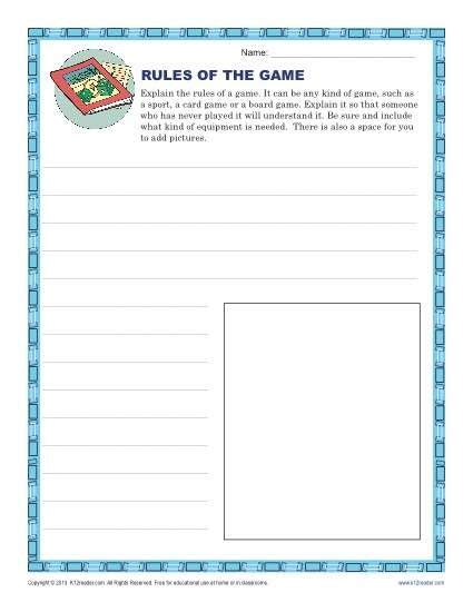 rules   game  images descriptive writing